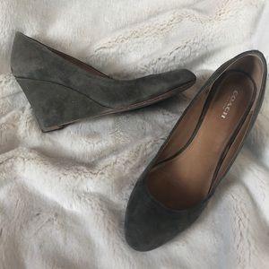 COACH grey suede wedges